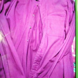 Men's maroon long sleeve dress shirt